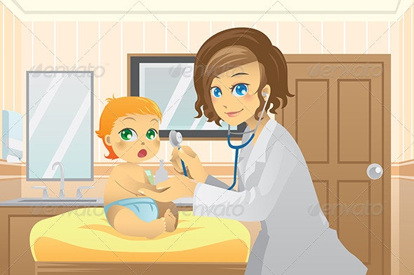 Pediatrician with Baby - People Characters