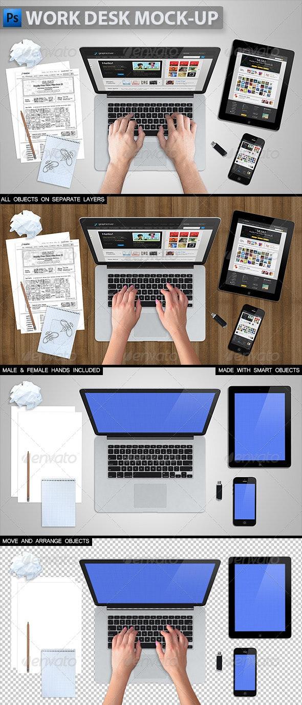 Work Desk Mock-up - Product Mock-Ups Graphics