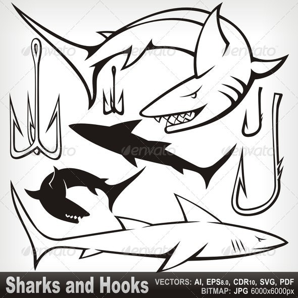 Sharks and Hooks - Animals Characters