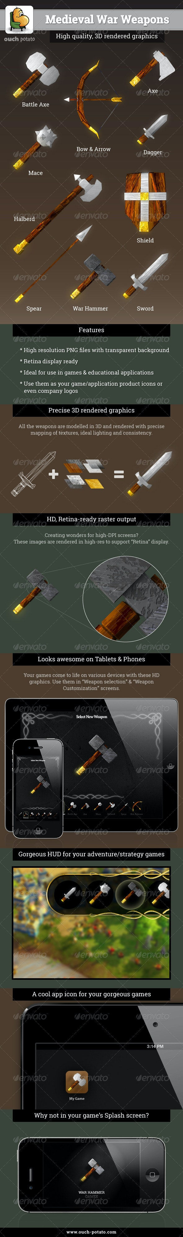 Medieval War Weapons - Objects 3D Renders