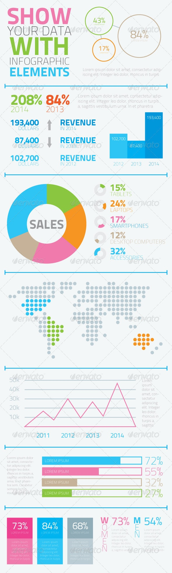 Infographic Flat Elements Set Vector - Infographics