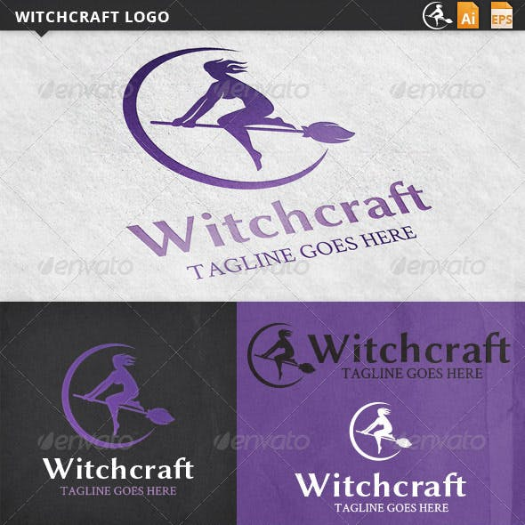 Witchcraft Halloween Logo Template