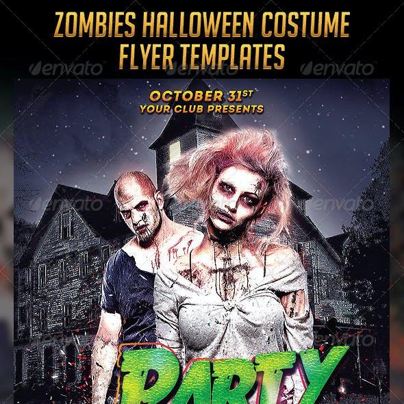 Zombies Halloween Costume Flyers