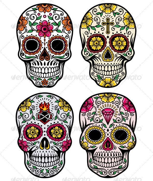 Day of the Dead Skull Vector Set - Tattoos Vectors