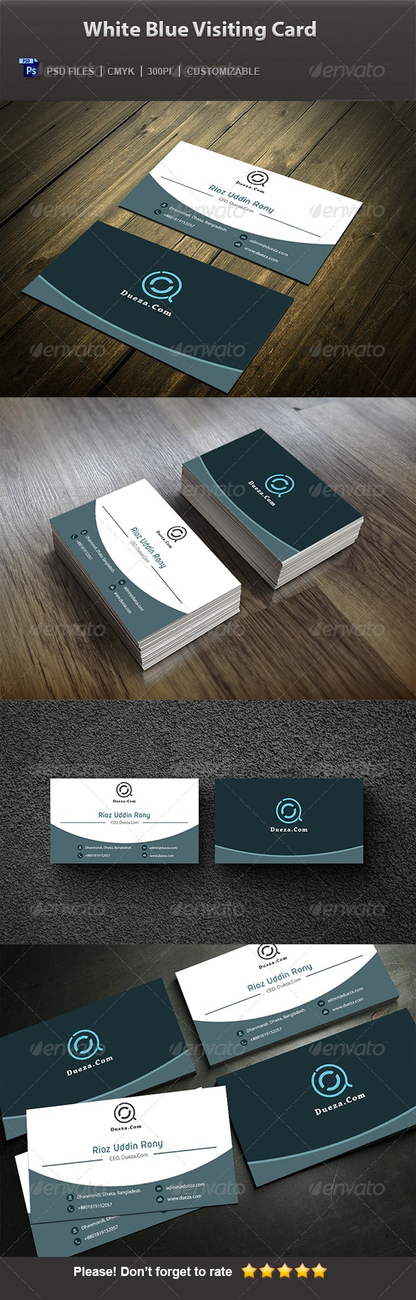 White Blue Visiting Card - Corporate Business Cards