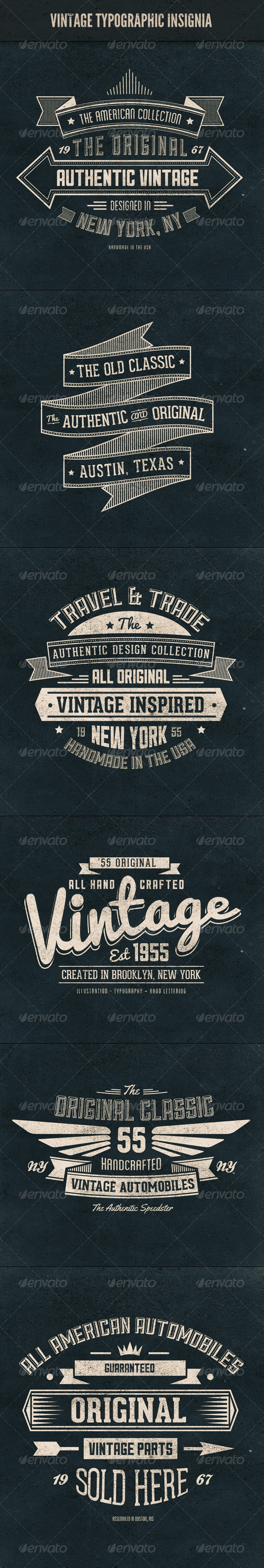 Vintage Typographic Insignia - Badges & Stickers Web Elements
