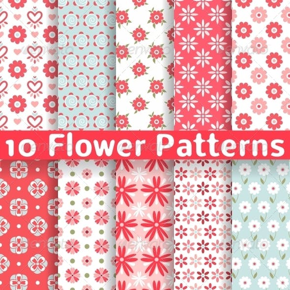 Different Flower Seamless Patterns