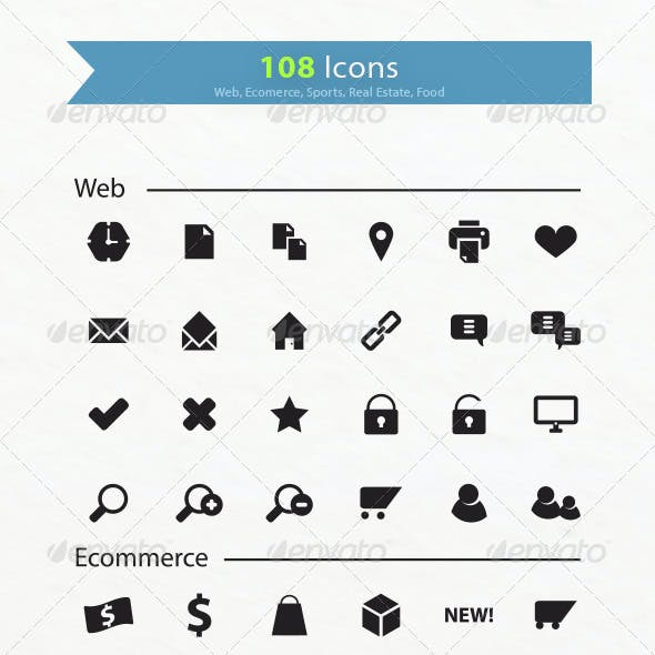 108 Icons - Web, Ecommerce, Real Estate, Sports...