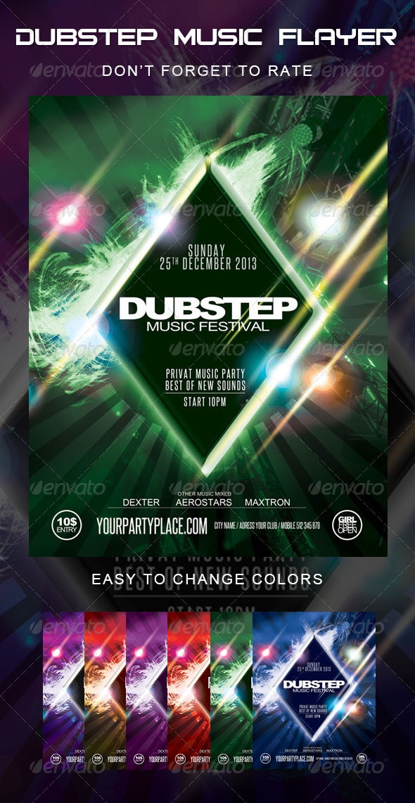 Dubstep Music Festival Flyer - Clubs & Parties Events