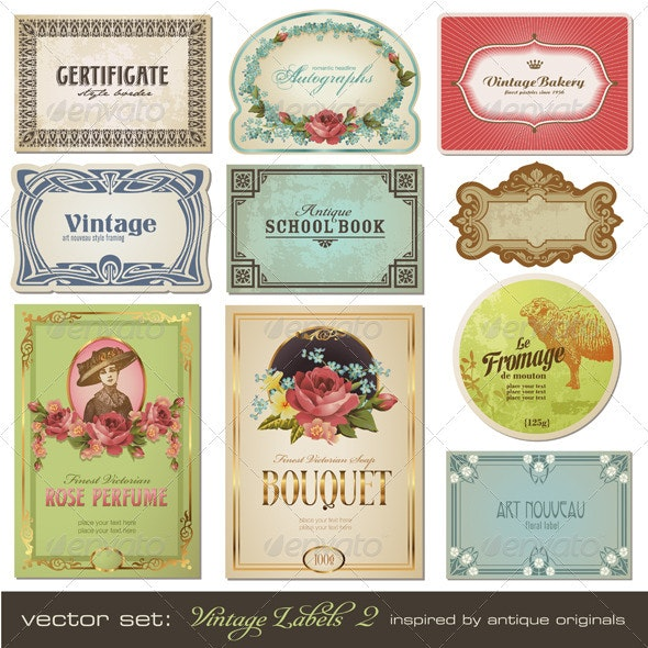 Vintage Labels (Set 2) - Man-made Objects Objects