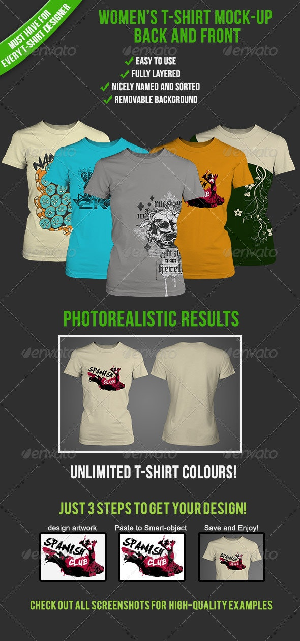 Women's T-shirt Mockup - T-shirts Apparel