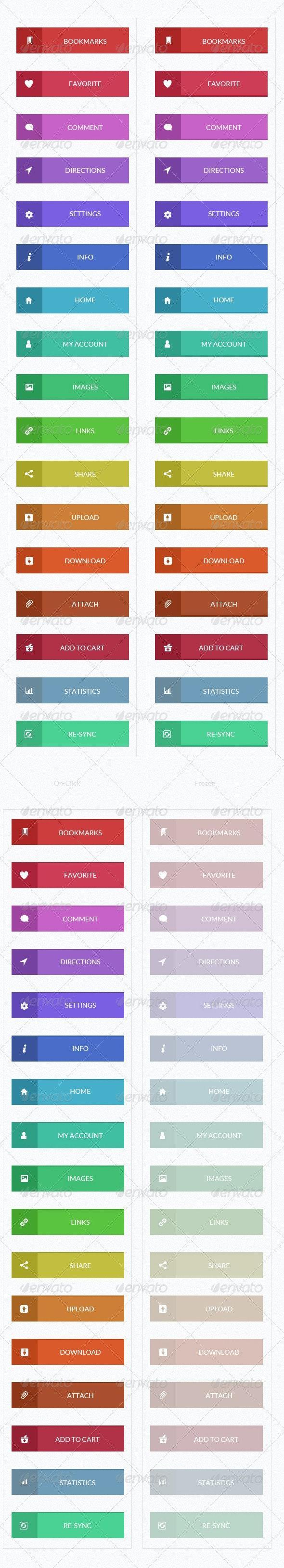 Flat Buttons - Buttons Web Elements