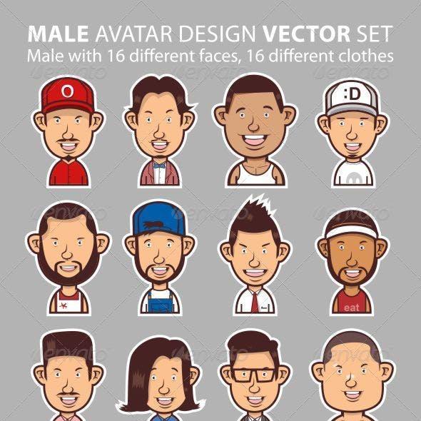 Male Avatar Design Vector Set