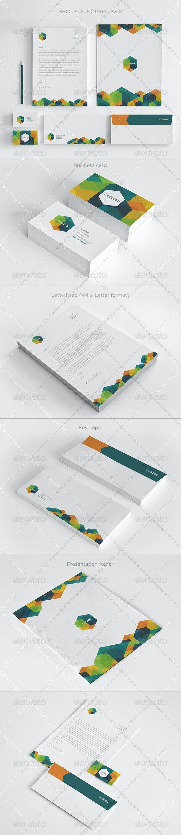 Modern Hexo Stationary Pack - Stationery Print Templates
