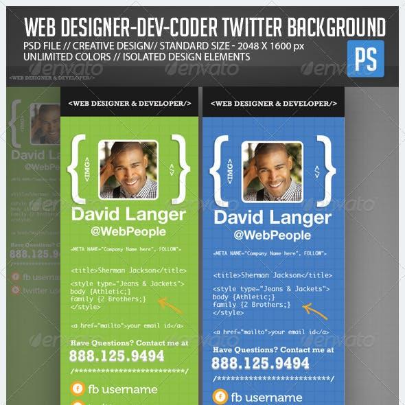 Web Designer Developer Coder Twitter Background