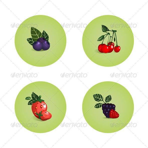 Blackberry Cherry Strawberry Bilberry Icons