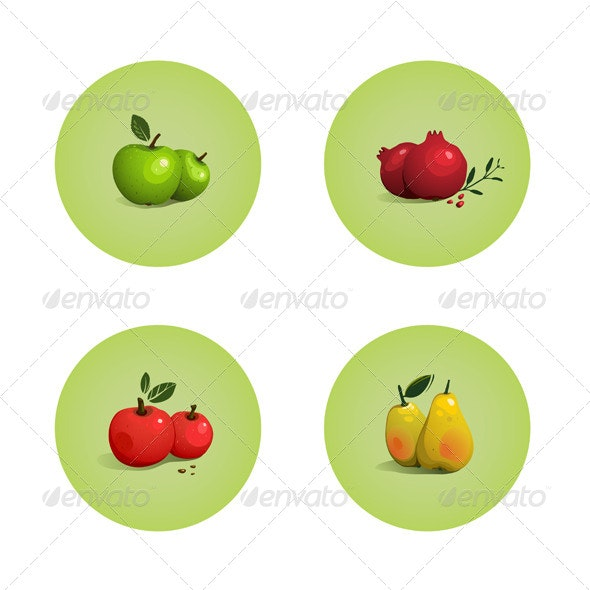 Green and Red Apple Pomegranate Pear Fruits Set - Food Objects