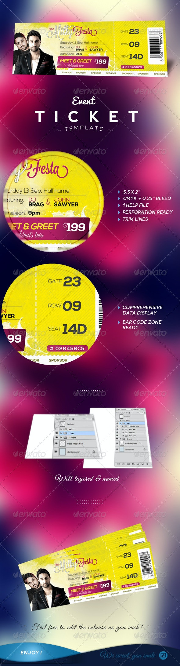 Event Tickets Template - Miscellaneous Print Templates