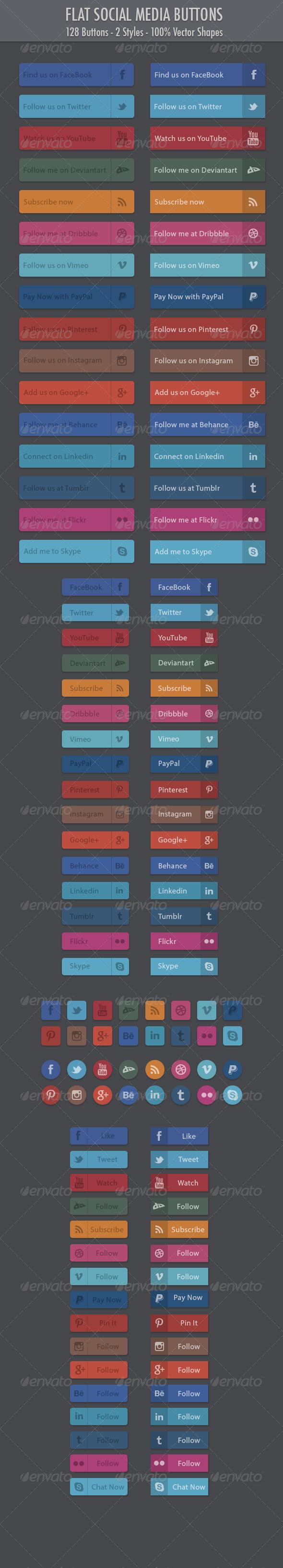 128 Flat Social Media Buttons - Buttons Web Elements