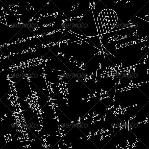 Vector Seamless Background with Mathematical Symbol