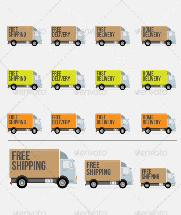 Flat Styled Delivery Truck Icons - Vectors