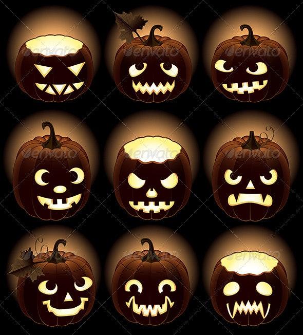 Set of Halloween pumpkins Jack O Lantern - Halloween Seasons/Holidays