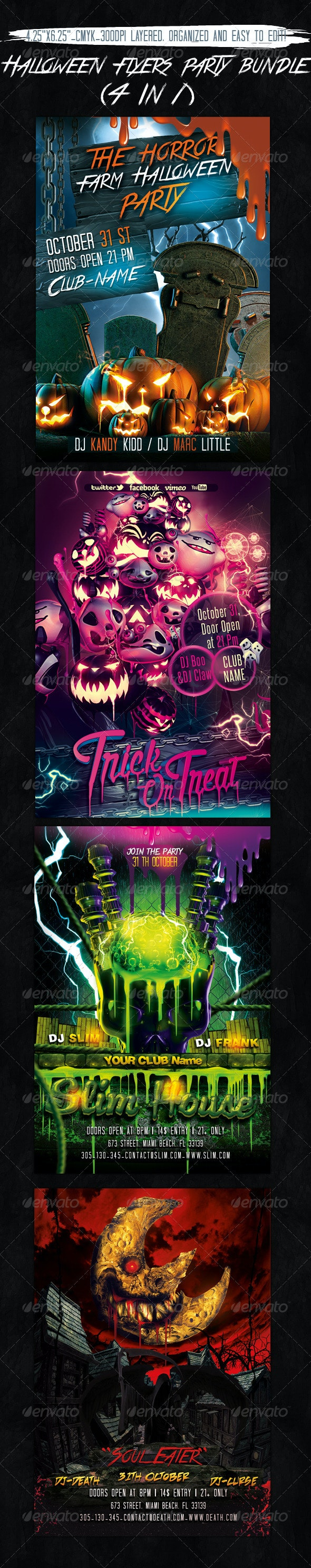 Halloween Flyers Bundle - 4 In 1 - Holidays Events