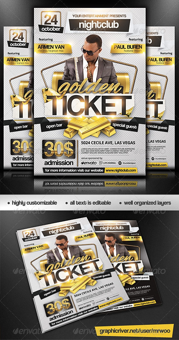 Golden Ticket Party Flyer - Clubs & Parties Events