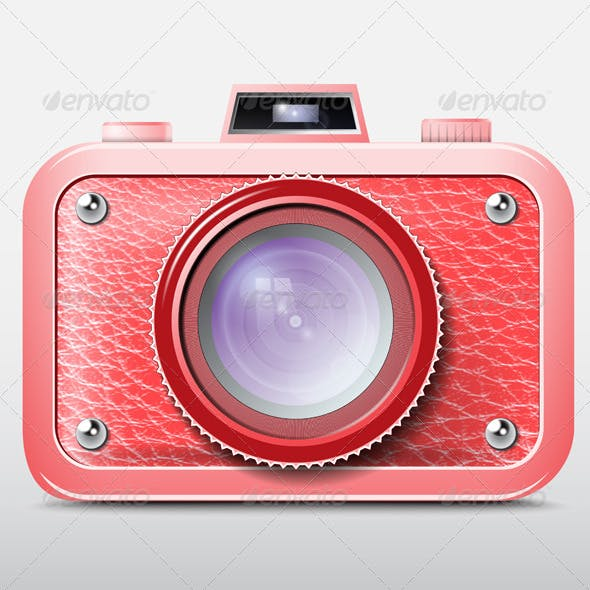Red Retro Photo Camera Icon