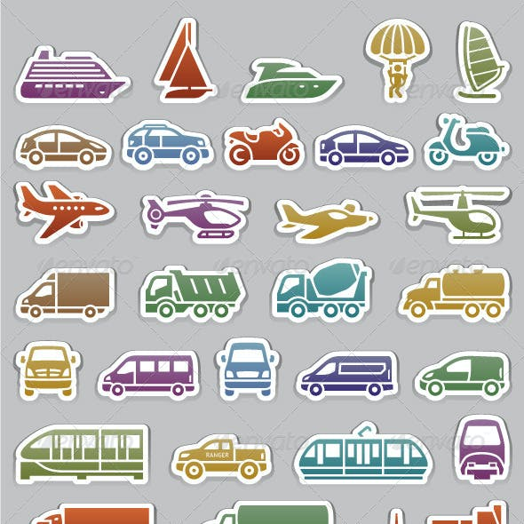 104 Transport icons set, retro colors