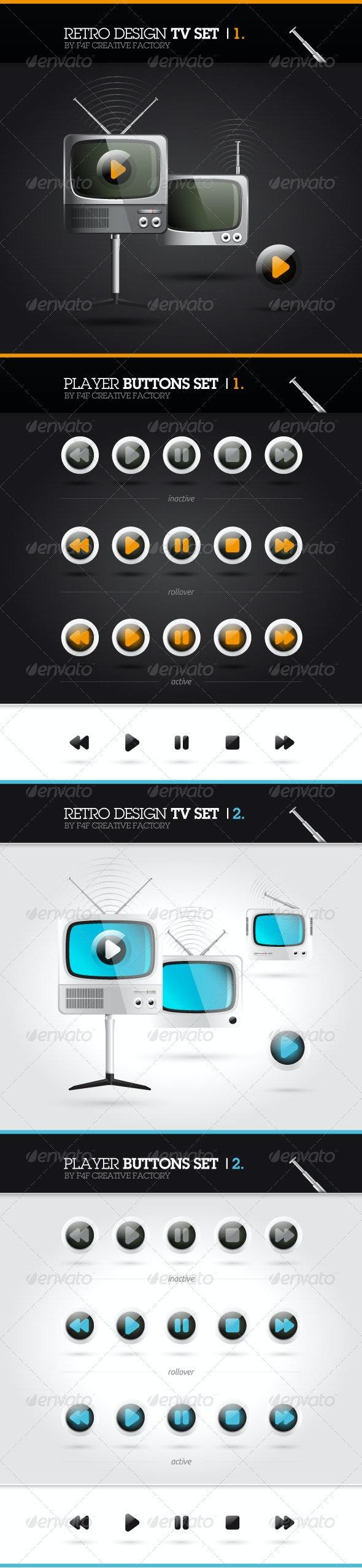 Retro Design TV Set - Objects Vectors