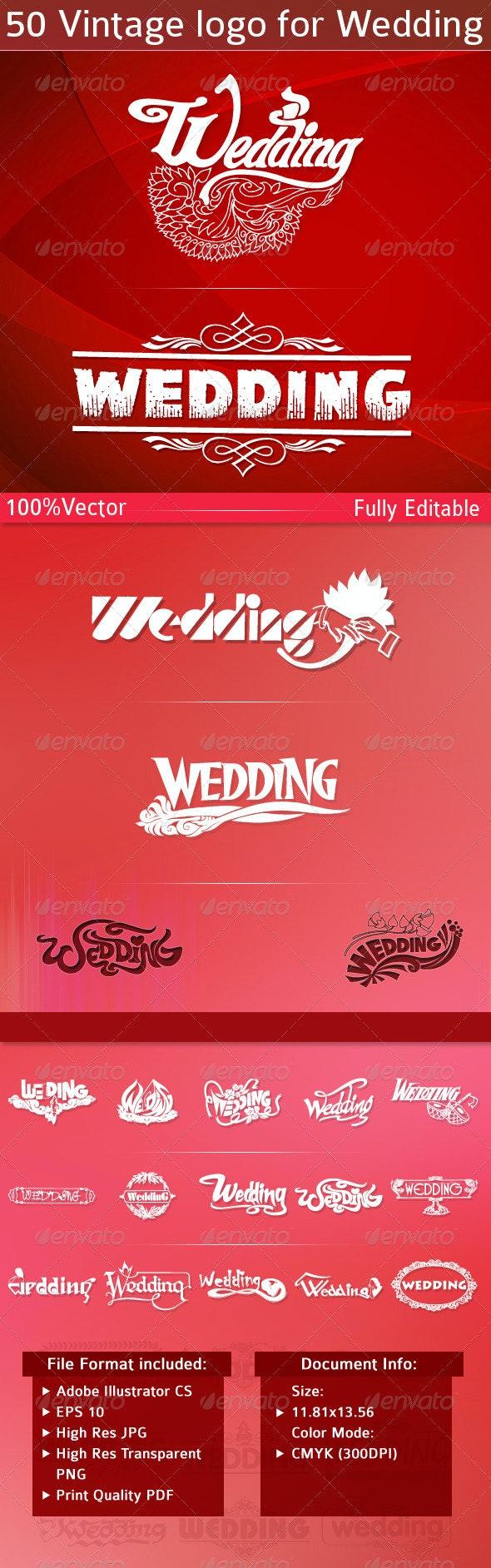 Vintage Logo for Wedding - Decorative Symbols Decorative
