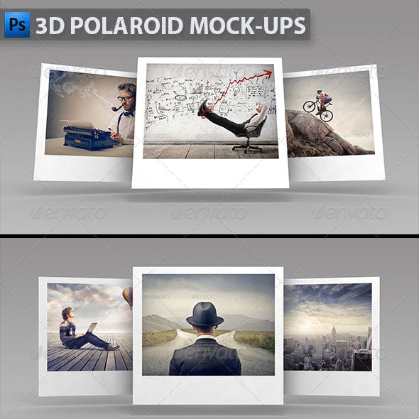 3D Polaroid Mock-ups