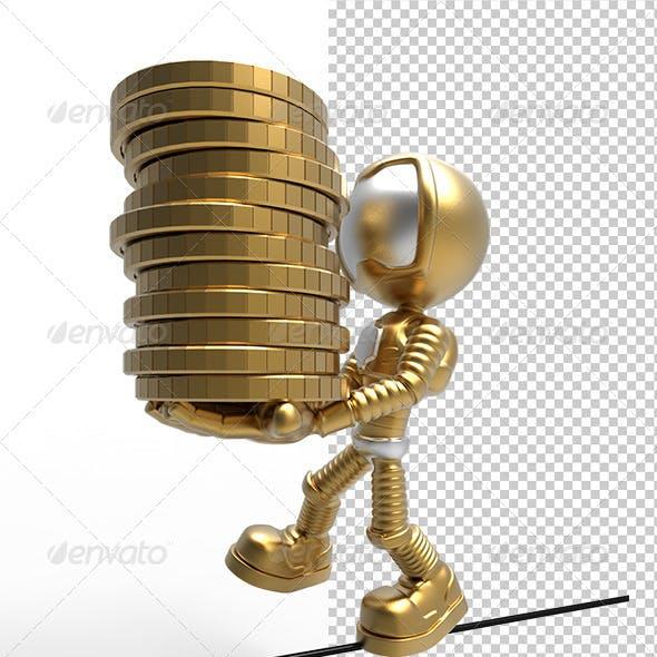 3D Gold Astronaut  Holding  Money Coins & Balance