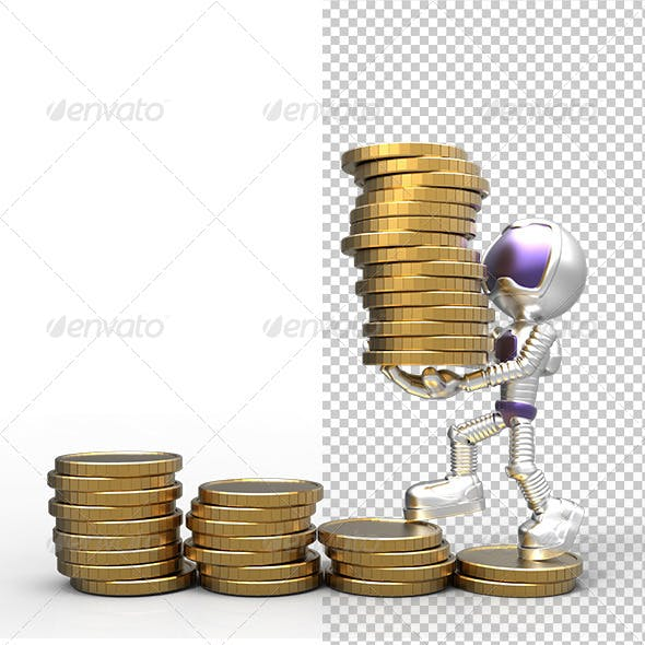 3D Gold Astronaut  Holding  Money Coins & Growth