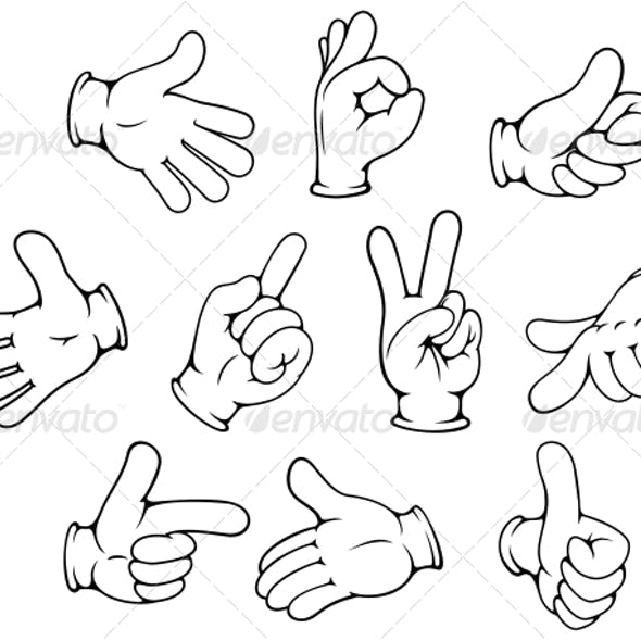 Cartoon Hand Gestures Set