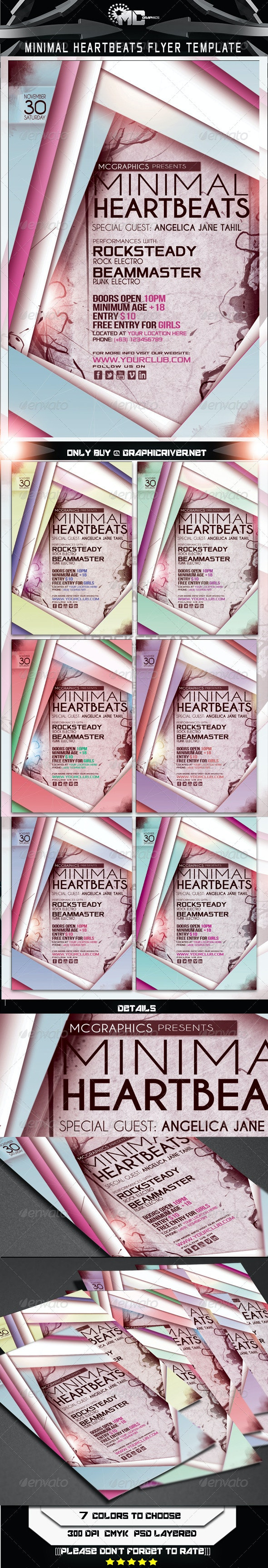 Minimal Heartbeats Flyer Template - Clubs & Parties Events