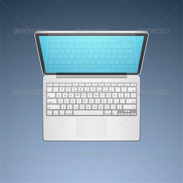 Open Modern Laptop, Top View