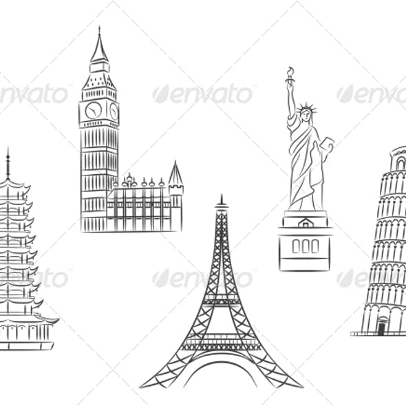 Travel Landmarks Set