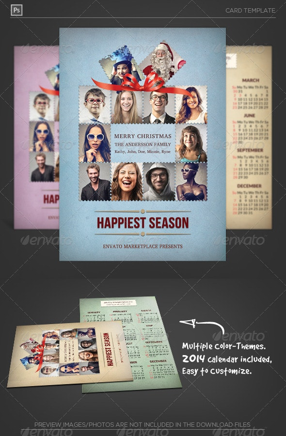 Stamp Greeting Card with Calendar 2014 - Holiday Greeting Cards
