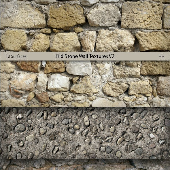 Old Stone Wall Surfaces Texture Backgrounds V2