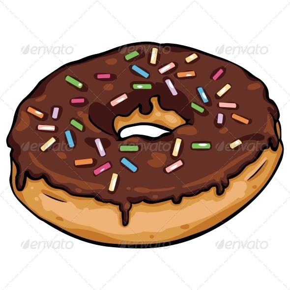Vector Cartoon Donut with Chocolate Icing