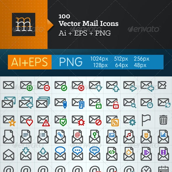 100 Vector Mail Icons