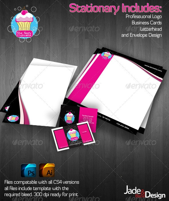 Cupcake Stationary Package - Stationery Print Templates