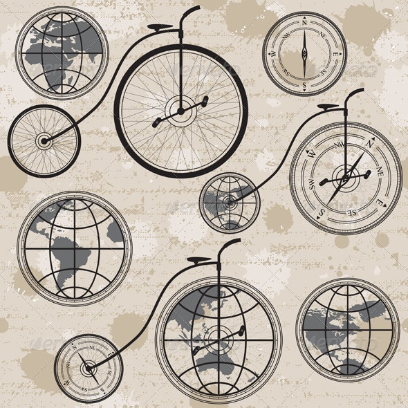 Retro Bicycle, Globe and Compass - Travel Conceptual