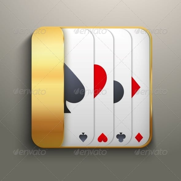Realistic Icon Deck of Playing Cards for Casino