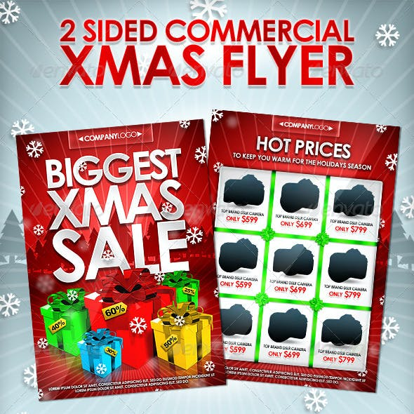 X-Mas Commercial Flyer - 2 Sides - Editable Colors