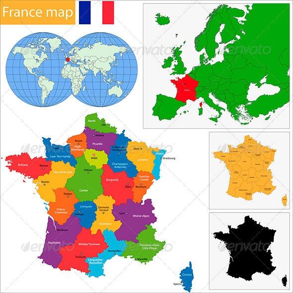 France Map - Travel Conceptual