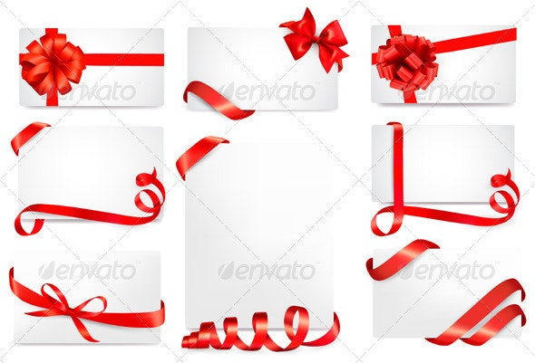 Set of Gift Cards with Red Gift Bows with Ribbons - Christmas Seasons/Holidays
