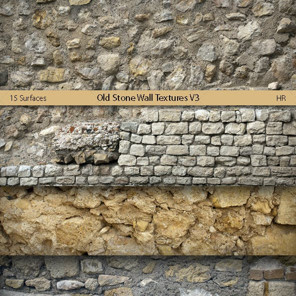 Old Stone Wall Surfaces Texture Backgrounds V3